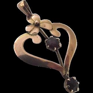 Art Nouveau 9ct gold and garnet lavaliere pendant