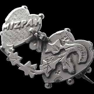 Antique silver Mizpah brooch pin hallmarked 1902