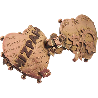 Antique 9ct rose gold Mizpah brooch pin