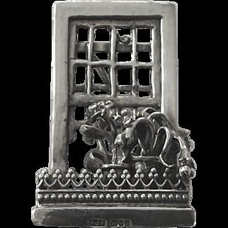 Vintage sterling silver flowers in the window brooch pin