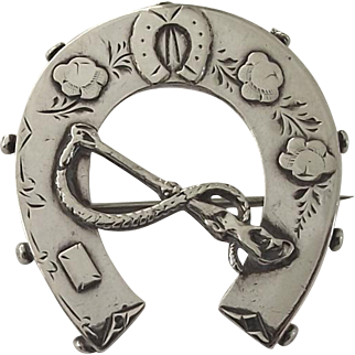 Antique sterling silver lucky horseshoe brooch pin 1889