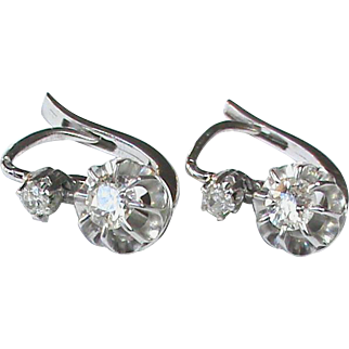 Antique Edwardian French 18k White Gold Diamond Earrings