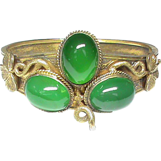 Super Antique Victorian Sterling Silver gilt Chalcedony Shamrock Bangle