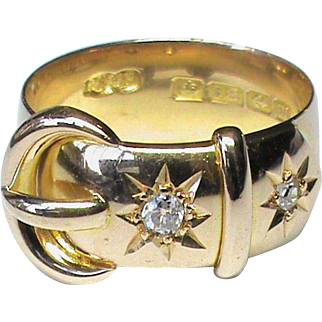 English Antique 1911 18k Gold Diamond Buckle Ring