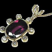 Vintage 9k Gold Garnet Diamond Pendant Necklace