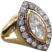 Vintage A and S 14kyg hallmarked ladies ring 0.72 marquise center 18 single cut diamonds surrounding with appraisal