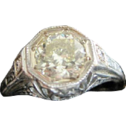 Vintage 18kwg filagree ring with a 1.02 carat VVS2 yellow R-S. diamond ring