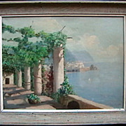 Italian terrace above the sea oil painting by Vincient Ciappa