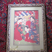 Vintage Japanese woodblock print of a group of women by Chikanobu