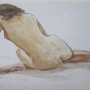 Paul Ashbrook watercolor of a nude woman in shadow box