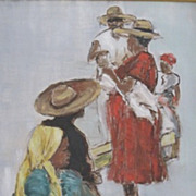 Vintage oil canvas painting of a Bolivian Outdoor Market