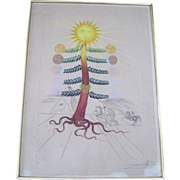 Original colored etching by Spanish surrealist Salvador Dali