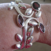 Sterling floral cuff bracelet with bezel set jewels