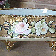 Hand painted roses Nippon ferner with tin lining squeeze bag trim
