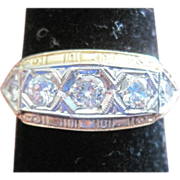 Bristol 14k yellow gold filagree ring with diamonds in 18kwg