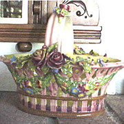 Charming Italian Majolica  lattice floral pink basket with handle