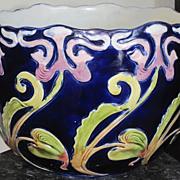 Art Nouveau period cache pot cobalt blue with irises and foliage