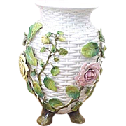 English porcelain white lattice vase with applied roses and vines