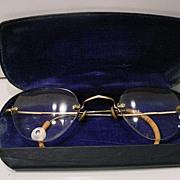 Vintage  14K Gold  Wire  Rim Glasses With Original Eye Glass Case
