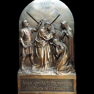 REDUCED Vintage  Bronze Station Of The Cross V lll
