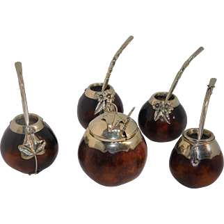 Vintage  Hand Crafted South American Gourd Drinking Set