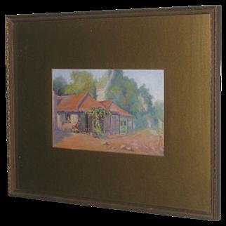 SALE Vintage Oil Painting Texas Farmhouse by Minette Teichmueller, Texas artist