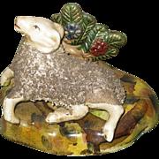 Antique Staffordshire Recumbent Ram Sheep Figurine