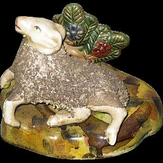 REDUCED Antique Staffordshire Recumbent Ram Sheep Figurine