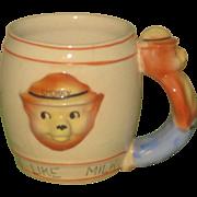 1950s Smokey the Bear Ceramic Child's Milk Mug with Figural Handle