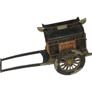 Large Vintage Chinese Rickshaw Lacquer Music Box