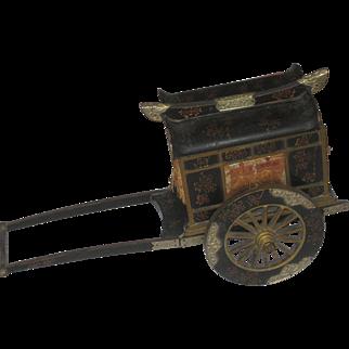 REDUCED Large Vintage Chinese Rickshaw Lacquer Music Box