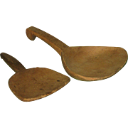 Pair of Old Farm Kitchen Wooden Scoops Primitive Butter Paddle Ladles