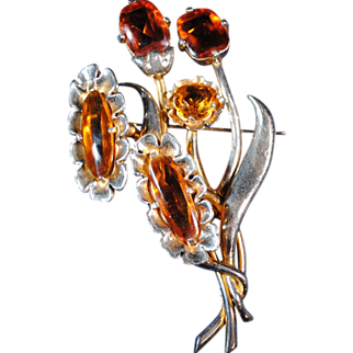 Large Eisenberg Originals Floral Brooch or Pin with Amber Color Stones