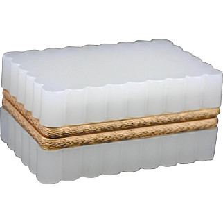 White Opaline Fluted Sides Hinged Glass Box or Jewelry Casket