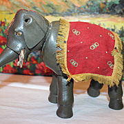"SALE Schoenhut Painted Eye Elephant, with Original drape and Howdah fringe scarf, 6 7/8"" X 9"" long in size, Vintage Humpty Dumpty Circus Animal, toy."
