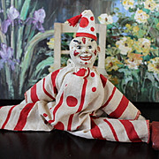 SALE Schoenhut Clown, original costume and hat.  Chair Not included! missing one ear, other ear is a leather replacement.