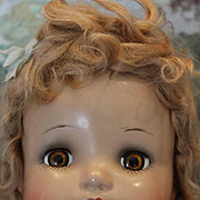 "SALE Madame Alexander Little Genius doll. 20"" tall, unplayed with condition! brown sleep eyes, original tagged dress.  Mohair wig! No crazing or cracks! Make Offer!"