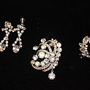SALE Vintage Marked Eisenberg pin  Brooch and 2 pairs of vintage earrings, vintage jewelry