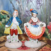 "SALE Pair of miniature colonial, couple figurines, courting couple, made in Occupied Japan, marked, 3"" tall in size, pottery, porcelain figurine, marked."