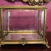 "Wonderful and Rare 19th Century Metal, Gilt or bronze metal Vitrine, Table top, Beveled Glass on every side. crack in glass on corner top. pictures included. Rare find! Display Case, Display box. 11"" T X 12 1/2"" long X 9 1/4""."