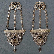 Antique Qing Dynasty Chinese Silver Filigree Headdress Ornaments Earrings
