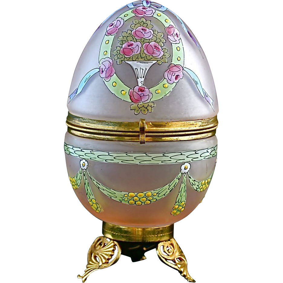 "5.5""h Art Deco period egg shaped trinket Box, hinged lid, pink satin enamelled glass"