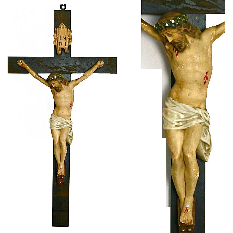 "28"" Antique Hand Painted Sculpture Jesus on Wood cross Crucifix"