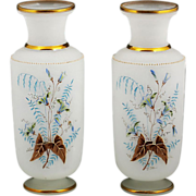 """Pair 10""""h Antique French Opaline glass Vases, Enamel Flowers"""