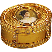 Antique gilded Bronze Box with miniature portrait of Russian Czarina