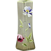 Antique Vase hand blown square shaped enamelled Glass