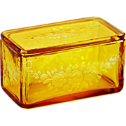 Antique Bohemian Amber cut to clear crystal glass Trinket Casket or Jewelry Box