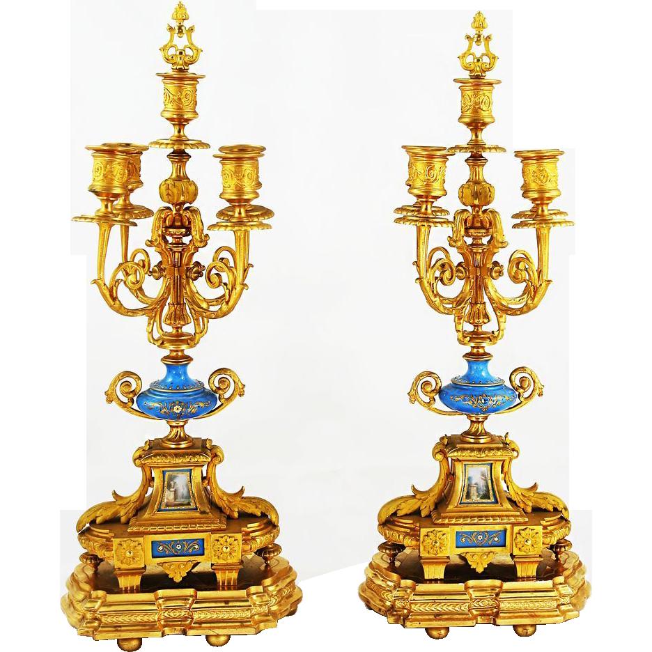 Pair Antique French Empire gilded bronze 5 light Candelabras