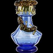 "13""H Bohemian Moser blue art glass Vase with amber lizard"