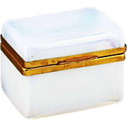Antique French white opaline crystal glass Jewelry Box Casket hinged lid